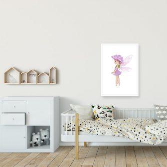 Plakat dla dziewczynki - Wróżka w sukience z kwiatu