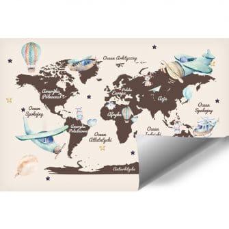 Tapeta dla dzieci z mapą świata i balonami