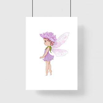 Plakat dla dzieci - Dziewczynka w sukience z leśnego dzwonka