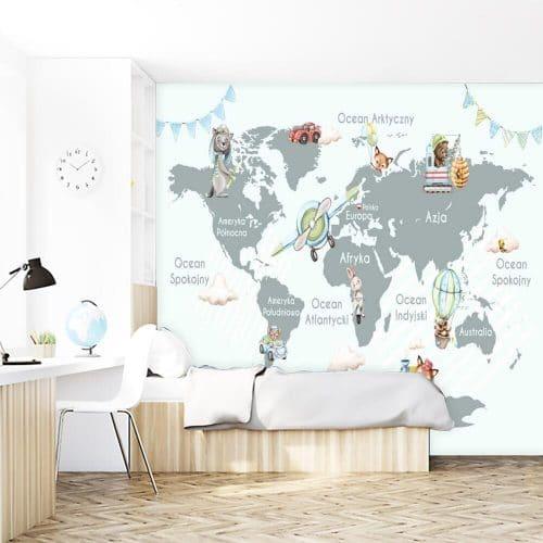 Fototapeta dla dzieci - mapa i zwierzątka
