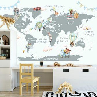 Mapa świata szarość i błękit - fototapeta dziecięca
