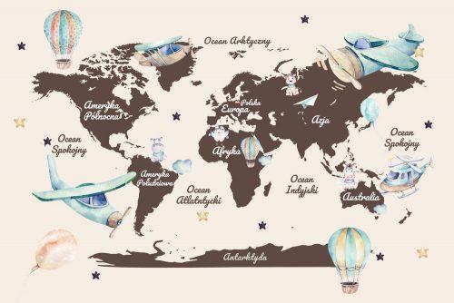Fototapeta dla dzieci z mapą świata i balonami