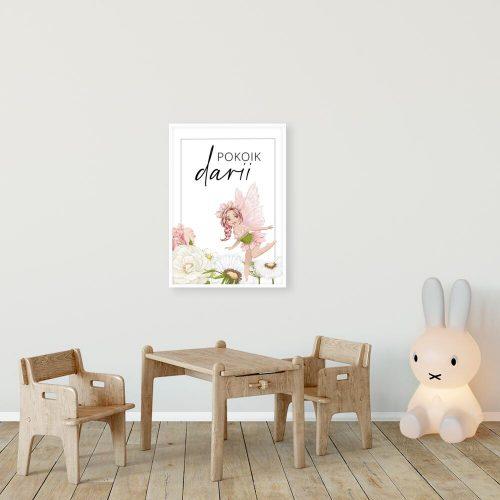 Plakat imienny dla Darii z motywem kwiatów