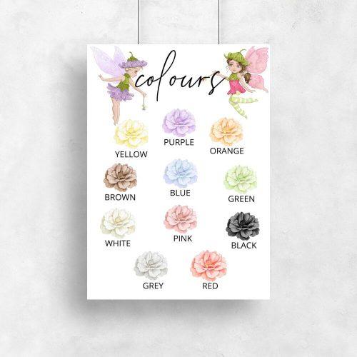 Plakat dla dzieci z kwiatami - Colours