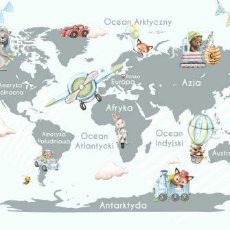 Tapeta dla dziecka z mapą świata