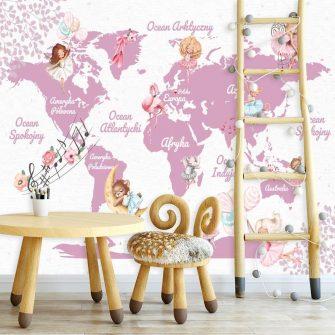 Wróżki na tle mapy świata - tapeta
