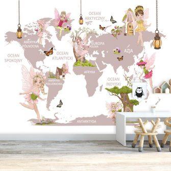 Pastelowa tapeta z kontynentami