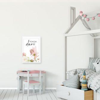 Plakat imienny dla Darii z kwiatami
