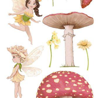 Kwiatowe wróżki - Zestaw naklejek dziewczęcych