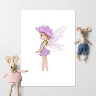 Dziewczęcy plakat z wróżką ubraną w leśny kwiatuszek