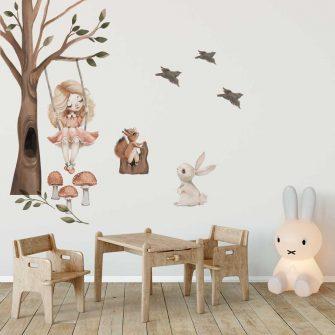 Zestaw leśnych naklejek do dziecinnego pokoju