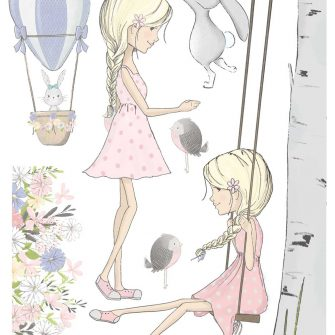 Zestaw naklejek do dziecinnego pokoju - Zajączek
