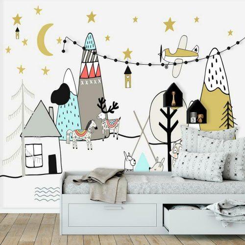 Tapeta dla dzieci krajobraz w nocy