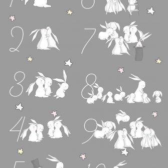 Plakat cyfry, króliczki i gwiazdki