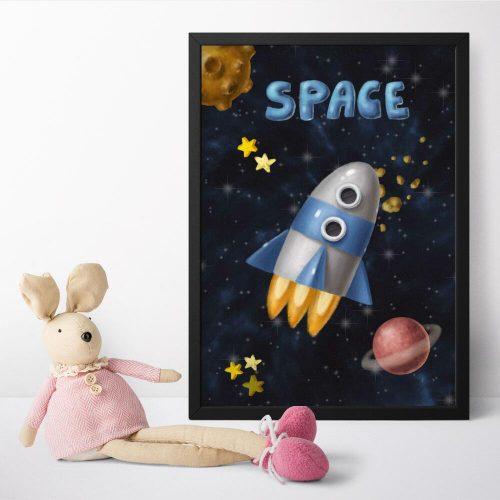 Plakat dla dzieci w rakietą w przestrzeni kosmicznej