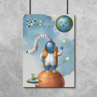 Plakat dla dzieci z kosmosem i ufoludkiem