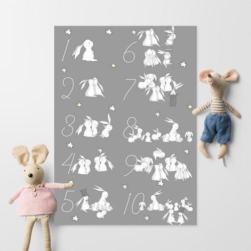 Plakat dla dzieci z zajączkami i cyferkami