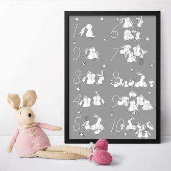 Plakat z króliczkami i cyferkami