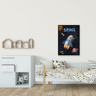 Plakat z motywem rakiety kosmicznej na tle planet