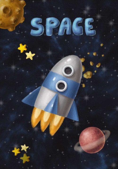 Plakat z rakietą kosmiczną w przestrzeni kosmicznej