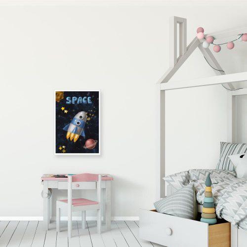 Plakat ze statkiem kosmicznym i planetami