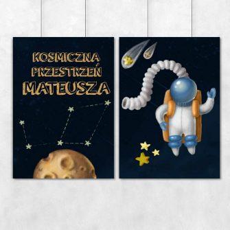 Spersonalizowane plakaty z astronautą i imieniem