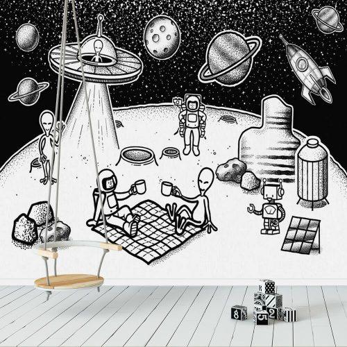 Foto-tapeta piknik na Księżycu z obcymi