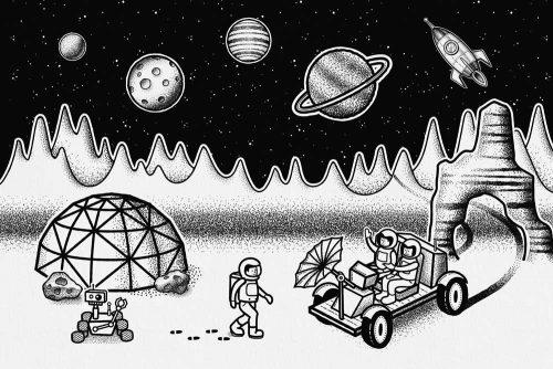 Foto-tapeta z kosmiczną stacją badawczą do przedszkola