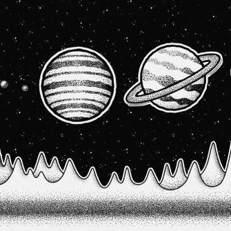 Foto-tapeta z planetami Układu Słonecznego w czarno-białych kolorach