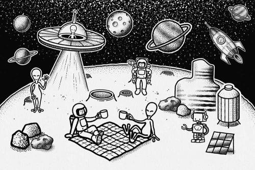 Tapeta ludzie i kosmici na Księżycu