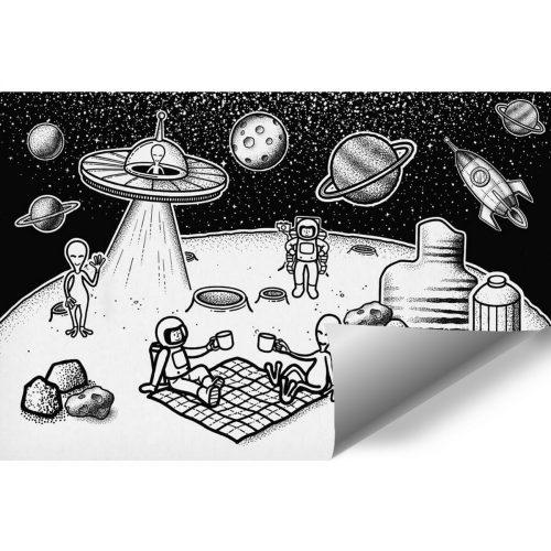 Tapeta z astronautami i Marsjanami