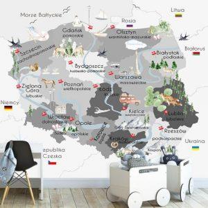 Mapa Polski dekoracja ścienna do przedszkola