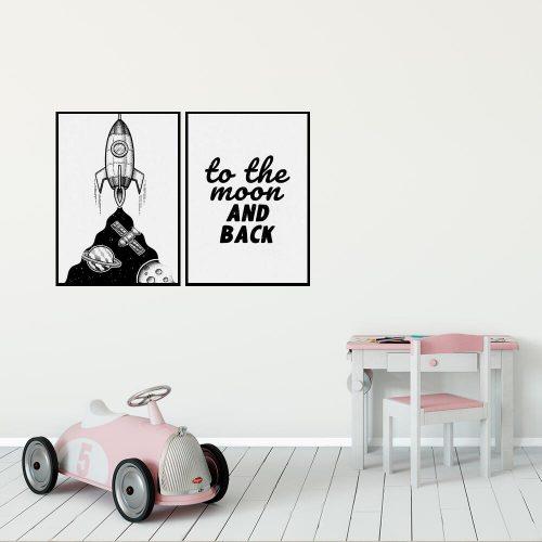 Plakat dla dzieci z napisem: to the moon and back