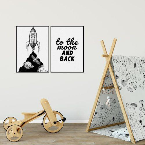 Plakat dla dzieci z rakietą