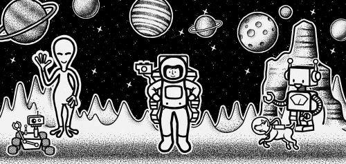 Tryptyk plakatowy z kosmitami i astronautą dla dzieci