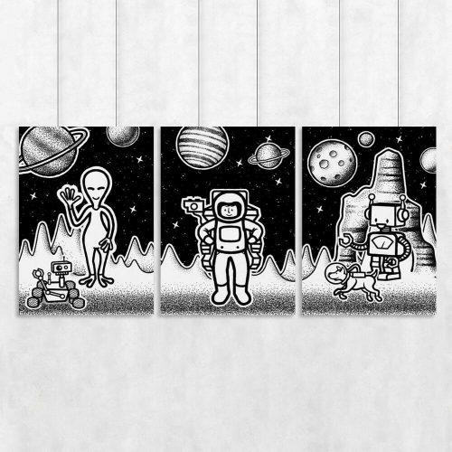 Trzy plakaty z kosmosem